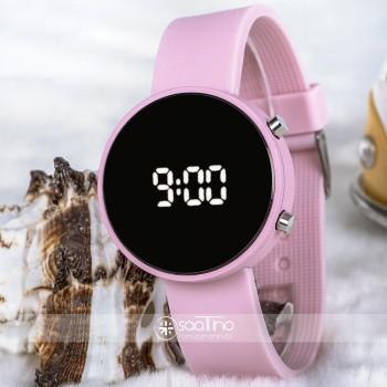 Açık Pembe Renk Silikon Kordonlu Led Bayan Kol Saati ST-303709