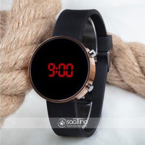 Bakır Renk Dijital Led Ekran Siyah Silikon Kordonlu Kadın Yetişkin Kız Saat ST-303676