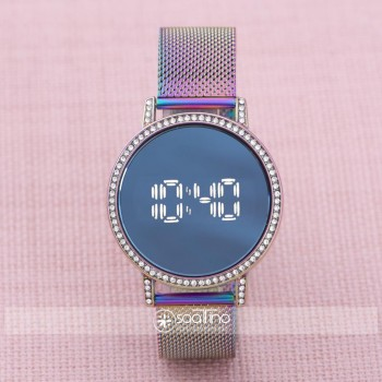 Bayan Çelik Dijital Led Dokunmatik Ekran Taşlı Kasa Kol Saati ST-303876
