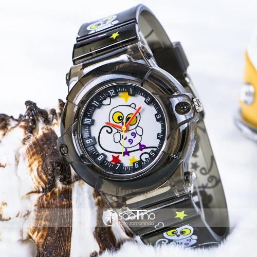 Baykuş Figürlü Füme Renk Silikon Kordonlu Çocuk Kol Saat ST-303719