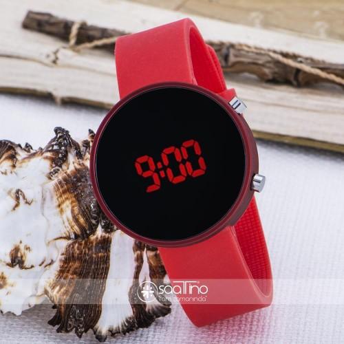 Dijital Kırmızı Renk Yuvarlak Kasa Silikon Kordonlu Spor Bayan Kol Saati ST-303625