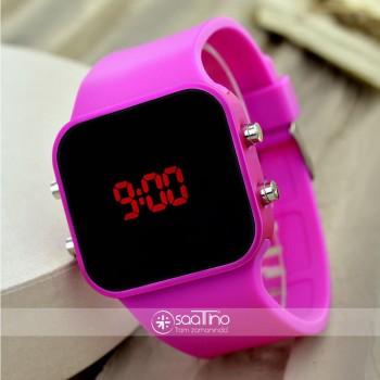 Dijital Led Genç Bayan Kız Kol Saati Fuşya Renk Kadın Silikon Bileklik Kol Saati ST-303126