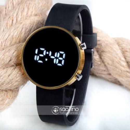 Dijital Led Watch Sarı Yuvarlak Kasa Siyah Silikon Kordon Unisex Kol Saat ST-303561