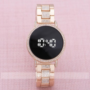 Kadın Çelik Dijital Led Dokunmatik Taşlı Yeni Model Kol Saati ST-303875