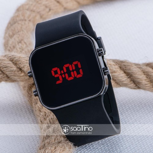 Siyah Kare Dijital Led Ekran Siyah Silikon Kordonlu Unisex Saat ST-303631
