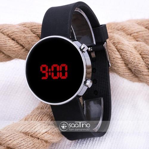 Led Watch Unisex Gümüş Renk Kasa Siyah Silikon Kordon Dijital Kol Saati ST-303531