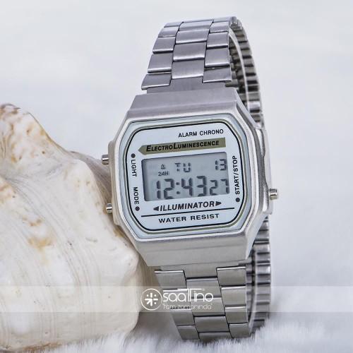 Mat Gümüş Renk Çelik Kordonlu Dijital Retro Bayan Unisex Kol Saat ST-303688