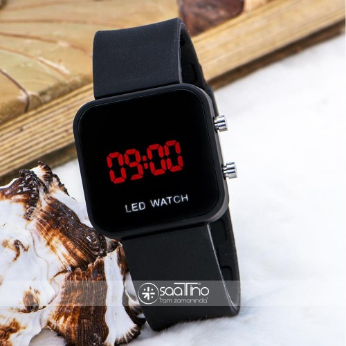 Mat Siyah Kare Dijital Led Ekran Siyah Silikon Kordonlu Unisex Kol Saat ST-303612