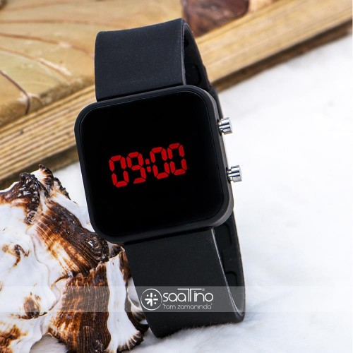 Mat Siyah Kare Dijital Led Ekran Siyah Silikon Kordonlu Unisex Kol Saat ST-303622