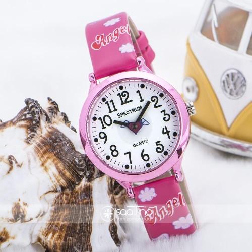 Pembe Renk Deri Kordonlu Kalp Figürlü Tasarım Çocuk Kol Saati ST-303606