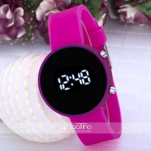 Pembe Renk Silikon Kordonlu Dijital Led Ekran Bayan Saat ST-303589