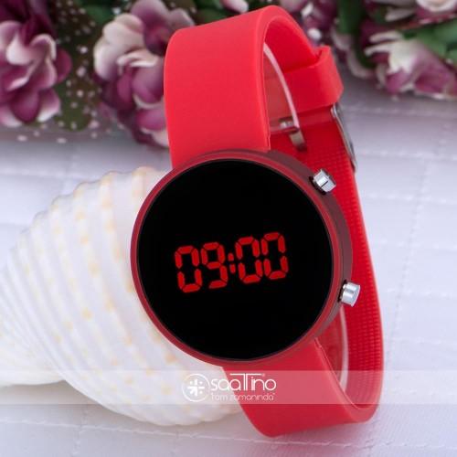 PİNKOLİ Metalik Kırmızı Dijital Led Silikon Bileklik Kız Çocuk Yetişkin Saat  ST-303611