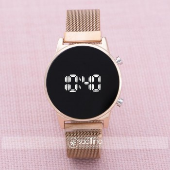 Rose Çelik Dijital Led Hasır Kordon Yeni Model Kadın Kol Saati ST-303874