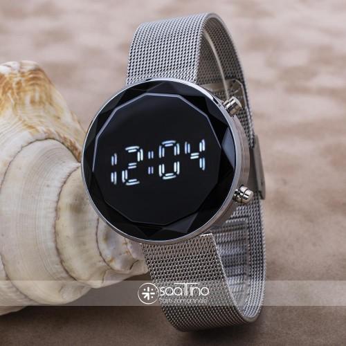 Gümüş Renk Hasır Kordon Led Watch Kesme Dijital Cam Bayan Kol Saati ST-303644