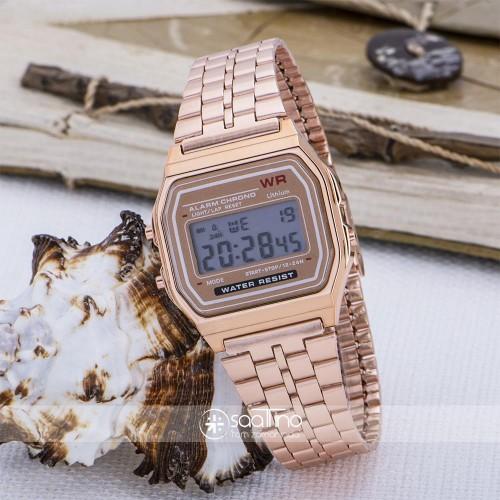 Rose Renk Çelik Kordonlu Dijital Retro Bayan Kol Saati ST-303616
