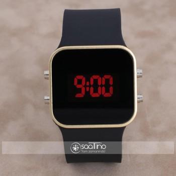 SaaTTino Dijital Gold Renk Kasa Led Kol Saati Silikon Bileklik Saat ST-303889