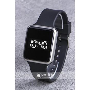SaaTTino Gümüş Renk Silikon Kordonlu Dokunmatik Led Kasa Unisex Kadın Saat ST-303840