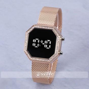 SaaTTino Rose Renk Spor Hasır Kordon Taşlı Dijital Kadın Kol Saati ST-303965