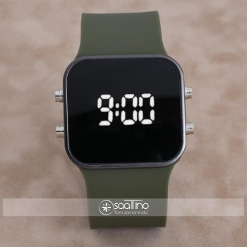 SaaTTino Siyah Kasa Yeşil Kordon Led Ekran Unisex Kadın Kol Saati ST-303896