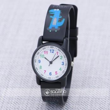 SaaTTino Siyah Renk Silikon Kordonlu Dinazor Tasarımlı Çocuk Saati ST-303928