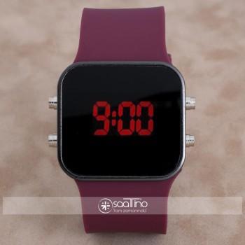 SaaTTino Trend Bordo Renk Siyah Kasa Silikon Kordonlu Dijital Unisex Kadın Kol Saati ST-303952