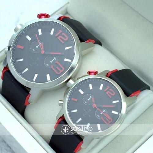 Siyah Silikon Kordonlu Gümüş Renk Spor Şık Çelik Kasa Sevgili Saatleri ST-302055