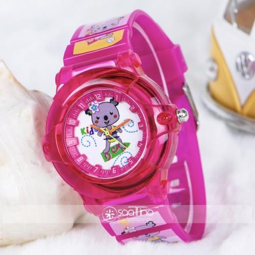 Şirin Fuşya Renk Silikon Kordon Rakamlı Kız Çocuk Kol Saati ST-303731