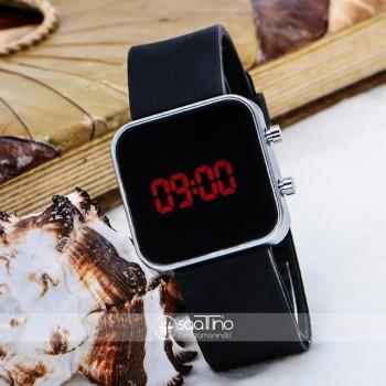 Siyah Silikon Kordonlu Mini Gümüş Renk Çelik Kasa Unisex Model Dijital Saat ST-303623