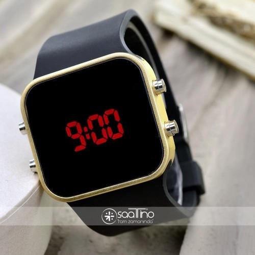 Spectrum Led Gold Black Unisex Sarı Renk Dijital Kol Saati Bileklik Saat ST-302022