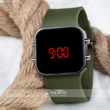 Spectrum Marka Yeşil Silikon Kordonlu Led Bayan Unisex Kol Saati ST-303696