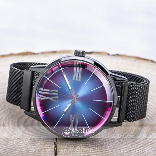 Trend Siyah Hasır Mıknatıslı Kordon Renkli Cam Erkek Saati ST-303689