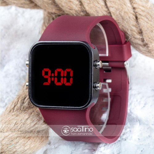 Spectrumwatch Smooth & Bordeaux Led Dijital Bordo Kol Saat Bileklik Saat ST-303058