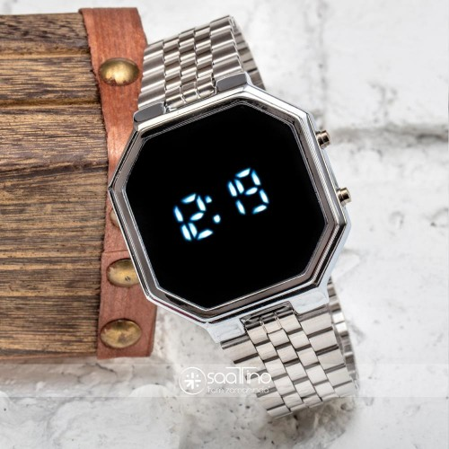 SPECTURM! Silver Gümüş Renk Dijital Led Watch Çelik Kordonlu Detay Kasa Bayan Kol Saati ST-303425