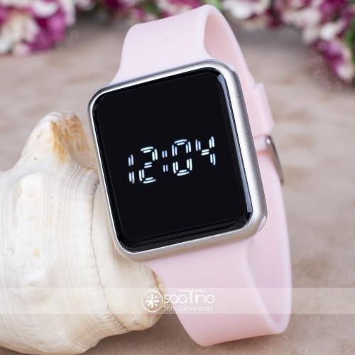 Toz Pembe Silikon Kordonlu Dokunmatik Led Ekran Dijital Kol Saat ST-303730