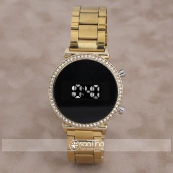 Yeni Model Taşlı Gold Renk Led Watch Dijital Çelik Kasa Kadın Kol Saati ST-303948