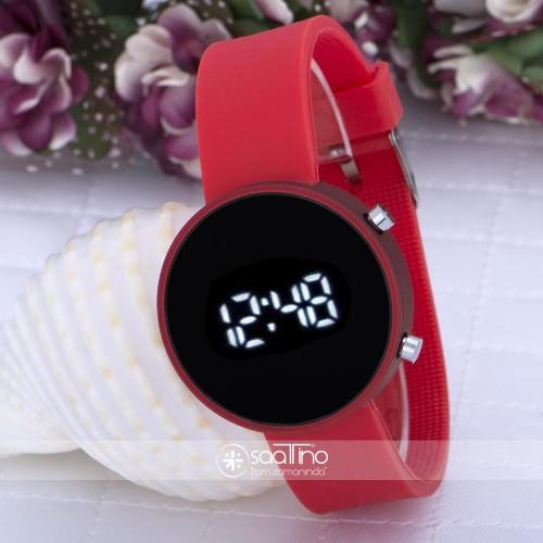 Yuvarlak Dijital Led Ekran Mat Kırmızı Silikon Kordonlu Unisex Saat ST-303587